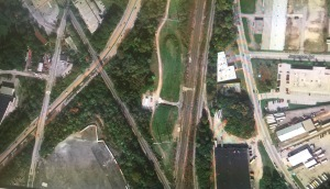 Aerial view of the tracks outside of Cherry Hill